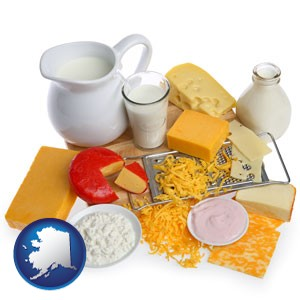 dairy products, including milk, cream, and various cheeses - with Alaska icon