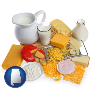 dairy products, including milk, cream, and various cheeses - with Alabama icon