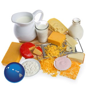 dairy products, including milk, cream, and various cheeses - with Hawaii icon