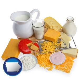 dairy products, including milk, cream, and various cheeses - with Iowa icon