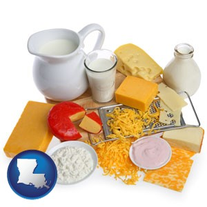 dairy products, including milk, cream, and various cheeses - with Louisiana icon