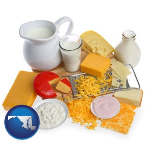 dairy products, including milk, cream, and various cheeses - with Maryland icon