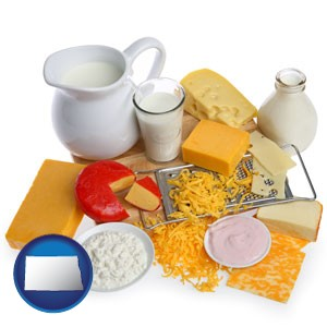 dairy products, including milk, cream, and various cheeses - with North Dakota icon