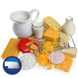 dairy products, including milk, cream, and various cheeses - with Nebraska icon