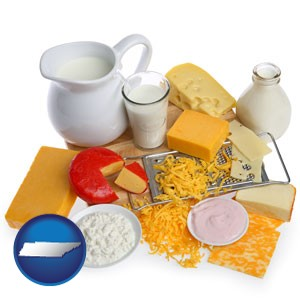 dairy products, including milk, cream, and various cheeses - with Tennessee icon