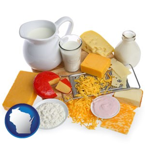 dairy products, including milk, cream, and various cheeses - with Wisconsin icon