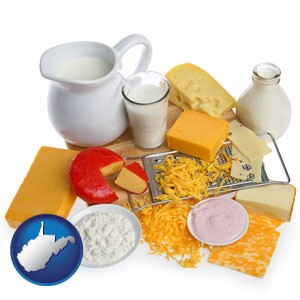 dairy products, including milk, cream, and various cheeses - with West Virginia icon